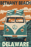 Bethany Beach, Delaware - VW Van Poster by  Lantern Press