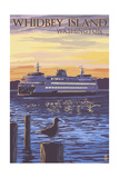 Whidbey Island, Washington - Ferry Sunset and Gull Prints by  Lantern Press