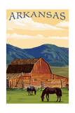 Arkansas - Horses and Barn Poster by  Lantern Press