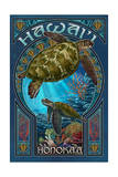 Honoka'a, Hawaii - Sea Turtle Art Nouveau Poster by  Lantern Press