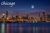 Chicago, Illinois - Skyline at Night Print by  Lantern Press