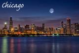 Chicago, Illinois - Skyline at Night Print by  Lantern Press