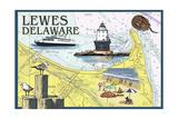 Lewes, Delaware - Nautical Chart 2 Prints