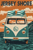 Jersey Shore - VW Van Prints by  Lantern Press