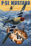 P-51 Mustang Mission with Bomber Print by  Lantern Press