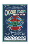 Blue Crabs - Vintage Sign Prints by  Lantern Press