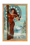 Vail, Colorado - Art Nouveau Skier Prints by  Lantern Press