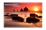 Washington Coast - Rocks and Sunset Prints by  Lantern Press
