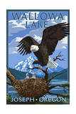 Joseph, Oregon - Wallowa Lake Eagle and Chicks Prints by  Lantern Press