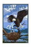 Joseph, Oregon - Wallowa Lake Eagle and Chicks Prints by  Lantern Press