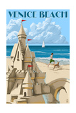 Venice Beach, California - Sandcastle Art by  Lantern Press