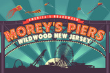 Wildwood, New Jersey - Morey's Pier Marquee Poster by  Lantern Press