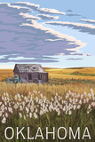 Oklahoma - Wheat Field and Shack Art by  Lantern Press