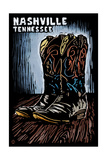 Nashville, Tennessee - Cowboy Boots - Scratchboard Print