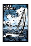 Wisconsin - Lake Mendota - Sailboat - Scratchboard Art by  Lantern Press