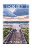 Rehoboth Beach, Delaware - Beach Boardwalk Scene Posters