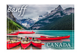 Banff, Canada - Lake Louise Canoes Posters by  Lantern Press