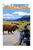Yellowstone National Park - Motorcycle and Bison Prints by  Lantern Press
