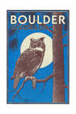 Boulder, Colorado - Horned Owl in the Moonlight - Vinatge Magazine Cover Posters