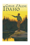 Coeur D'Alene, Idaho - Fly Fishing Scene Art by  Lantern Press