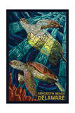 Rehoboth Beach, Delaware - Sea Turtle Mosaic Schilderij van  Lantern Press