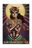 San Francisco, California - Day of the Dead - Crossbones Art by  Lantern Press