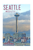 Seattle, Washington - Space Needle and Waterfront Piers Prints by  Lantern Press