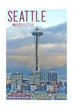 Seattle, Washington - Space Needle and Waterfront Piers Prints by  Lantern Press