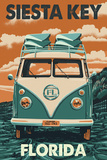 Siesta Key, Florida - VW Van Print by  Lantern Press