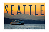 Seattle, Washington - Ferry and Orange Sunset Posters by  Lantern Press