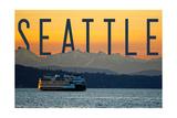 Seattle, Washington - Ferry and Orange Sunset Posters