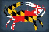 Maryland - Crab Flag - No Text Sztuka autor Lantern Press