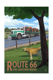 Route 66 - Truck with Tractors Prints by  Lantern Press