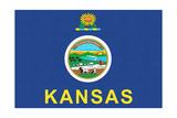 Flagge von Kansas Giclée-Premiumdruck von  Lantern Press