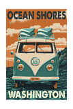 Ocean Shores, Washington - VW Van Posters by  Lantern Press