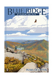 Blue Ridge Parkway - Peaks of Otter in Fall Posters by  Lantern Press
