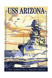 USS Arizona Battleship - Sunset Scene Posters by  Lantern Press
