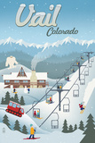Vail, Colorado - Retro Ski Resort Poster