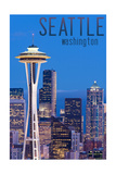 Seattle, Washington - Skyline and Space Needle Art by  Lantern Press