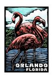 Orlando, Florida - Flamingo - Scratchboard Posters by  Lantern Press