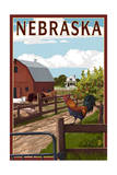 Nebraska - Barnyard Scene Print by  Lantern Press