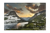 Glacier National Park, Montana - Hidden Lake and Bearhat Mountain Poster by  Lantern Press