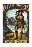 Ocean Shores, Washington - Pinup PIrate Prints by  Lantern Press