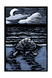 Sea Turtle on Beach - Scratchboard Poster van  Lantern Press
