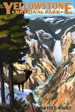 Yellowstone National Park - Artist Point and Elk Art by  Lantern Press