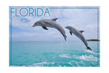 Florida - Jumping Dolphins Poster by  Lantern Press