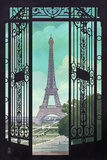 Paris, France - Eiffel Tower and Gate Lithograph Style Prints
