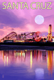 Santa Cruz, California - Rides and Moon at Twilight Print by  Lantern Press