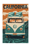 California - VW Van Blockprint Prints by  Lantern Press