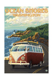 Ocean Shores, Washington - VW Coastal Drive Prints by  Lantern Press